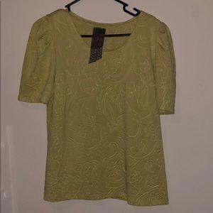 Lime embossed cap sleeve blouse